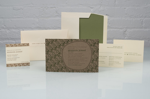 Simon by Spark, kraft paper mitzvah invitation, modern invitation with green and brown color palette, solid green envelope liner