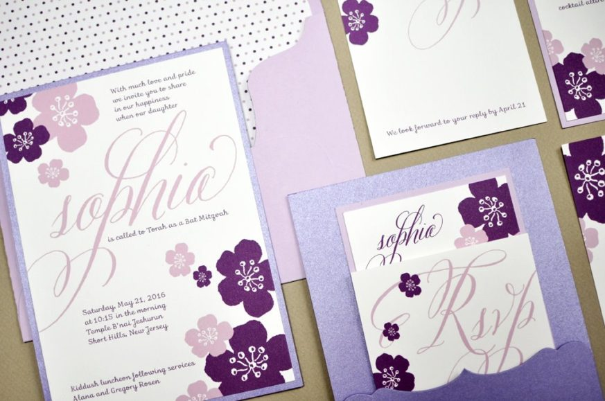 Sophia by B.T.Elements, Floral Pocket Mitzvah Invitation