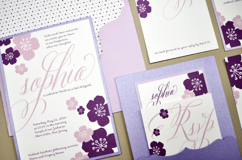 Sophia by B.T.Elements, Floral Pocket Mitzvah Invitation, flower illustrations in purple and lavender color palette, pocketcard in purple shimmer paper, lavender envelope with polka dot liner