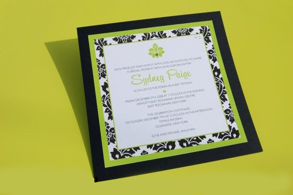 Sydney Paige's Mitzvah by Fat Cat Paperie, Damask layered invitation, black and lime green color palette