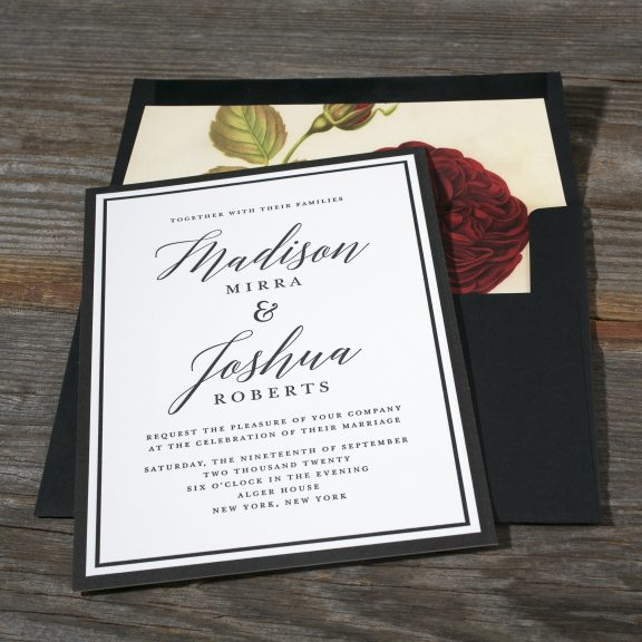 American Beauty by Bella Figura, classic, traditional letterpress invitation with floral liner, black and white color palette with border, black envelope
