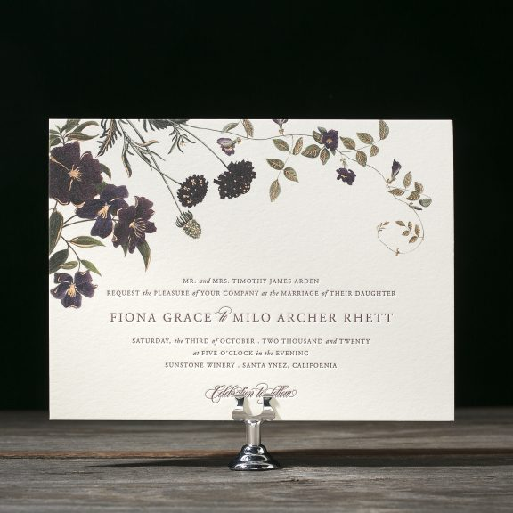 Arden by Bella Figura, vintage floral wedding invitation