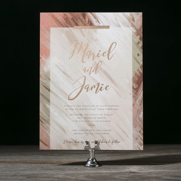Brushwork by Bella Figura, modern digital and foil patterned invitation