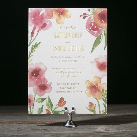 Chilmark by Bella Figura, whimsical floral invitation suite, watercolor flowers in pink red orange color palette with green leafy details, modern typesetting in gold foil