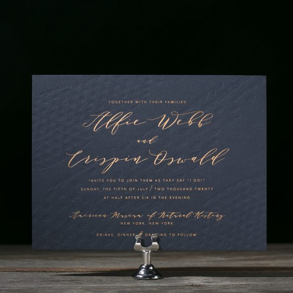 Garnet by Bella Figura, foil invitation, navy and copper, modern wedding invitation with textured background and copper foil text