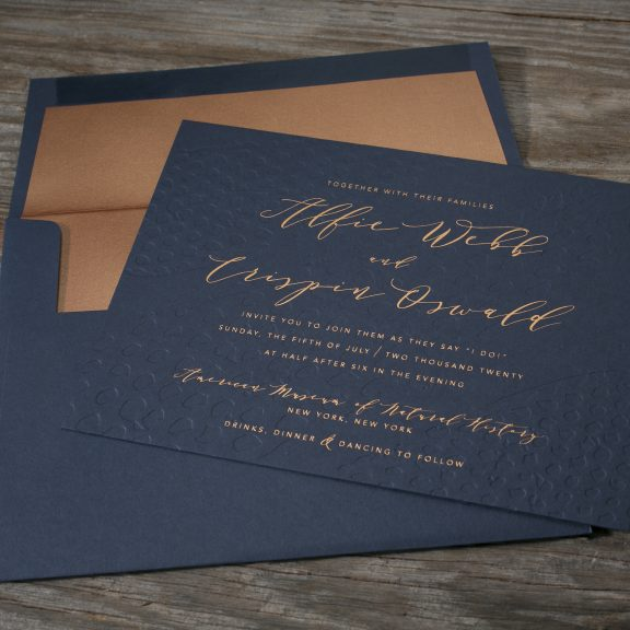 Garnet by Bella Figura, foil invitation, navy and copper