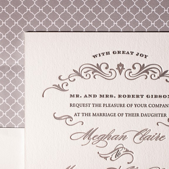 gilford by bella figura, formal letterpress and foil wedding invitation
