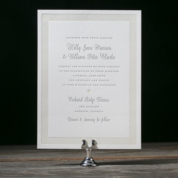 Picket by Bella Figura, sweet neutral rustic wedding invitation