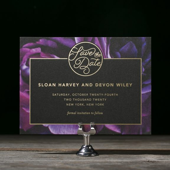 Sloan by Bella Figura, modern floral and foil save the date, black and purple floral background with gold foil text, calligraphy style font, modern