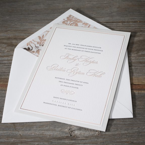 Townsend by Bella Figura, Classic Rose Gold Invitation