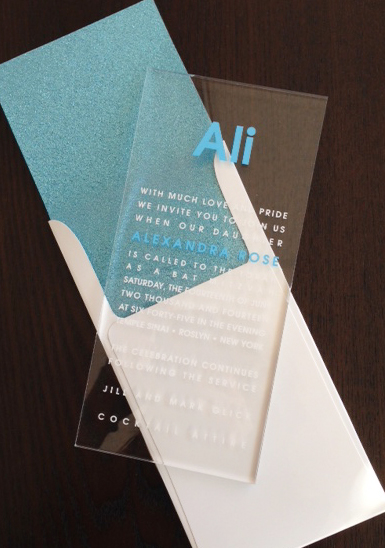 Aqua Glitter Lucite Invitation from Lemontree, Envelope liners
