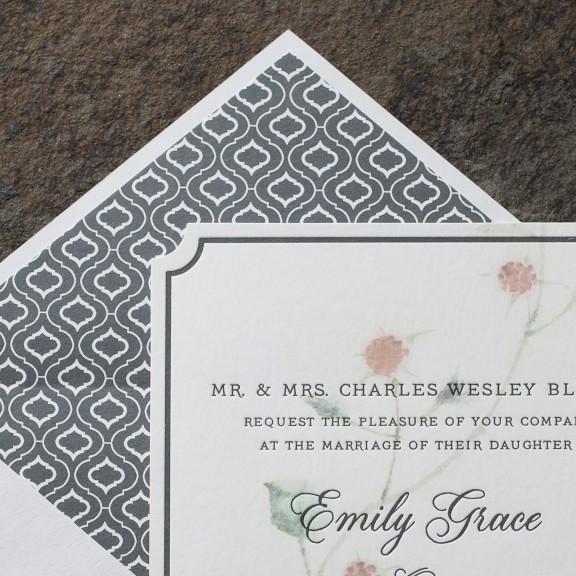 Ashbourne, Version 2, Smock, Floral letterpress invitation with charcoal patterned liner, Envelope liners