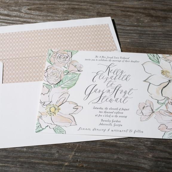 Bella Figura, English Garden, Watercolor floral invitation, Letterpress with Vintage patterned liner