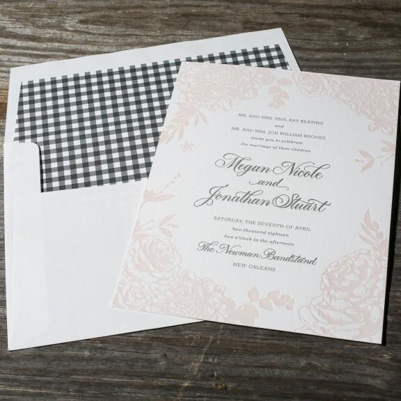 Bella Figura, Lush Garden, Letterpress floral invitation with gingham envelope liner, Envelope liners