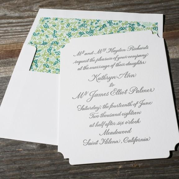 Bella Figura, Napa, Classic invitation with ditzy floral pattern
