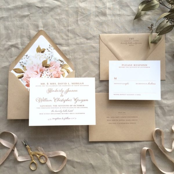Kimberly by B.T.Elements, Copper foil invitation with kraft paper and autumn floral envelope liner