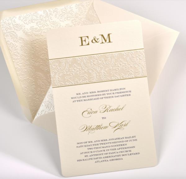 Lemontree, Erica, Embossed shimmer wedding invitation with monogram