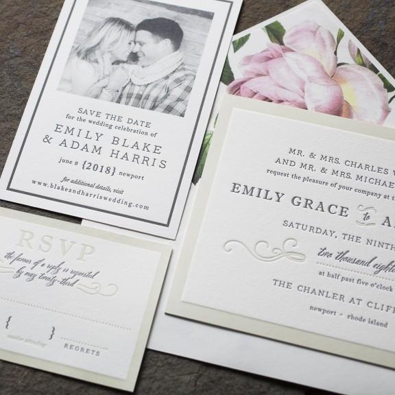 Smock, Ashbourne, Classic invitation with vintage rose envelope liner