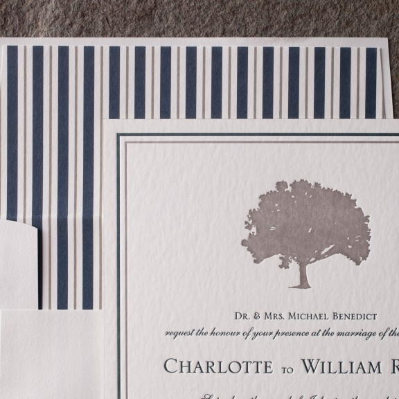 Smock, Chapman, Clean and classic invitation with striped envelope
