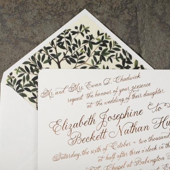 Smock, Donegal, Formal copper foil invitation with olive branches illustration on envelope liner