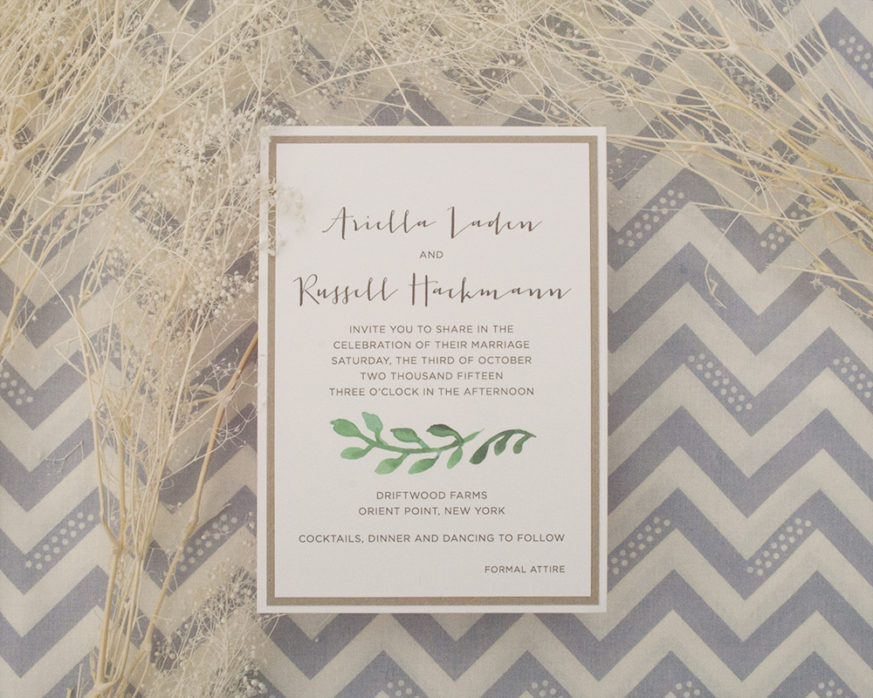 Arielle + Russel, Wedding Invitation, Rustic with Greenery, Kraft Paper