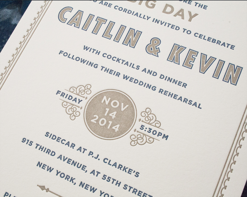 Detail of Caitlin+Kevin's Rehearsal Dinner, Letterpress Invitation, Navy and Taupe color palette, decorative frame, french bistro style