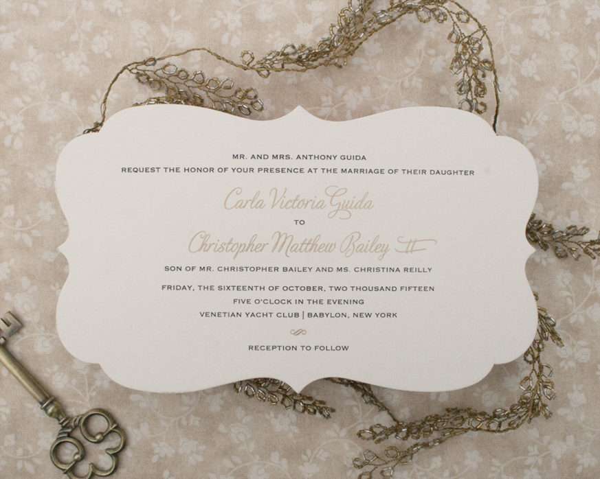 Carla+Christopher, Wedding Invitation, Diecut, Black and Gold