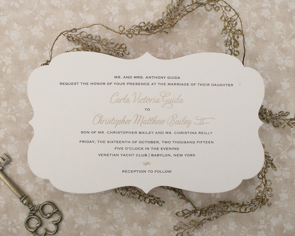 Carla+Christopher, Wedding Invitation, Diecut, Black and Gold, traditional style, formal wedding