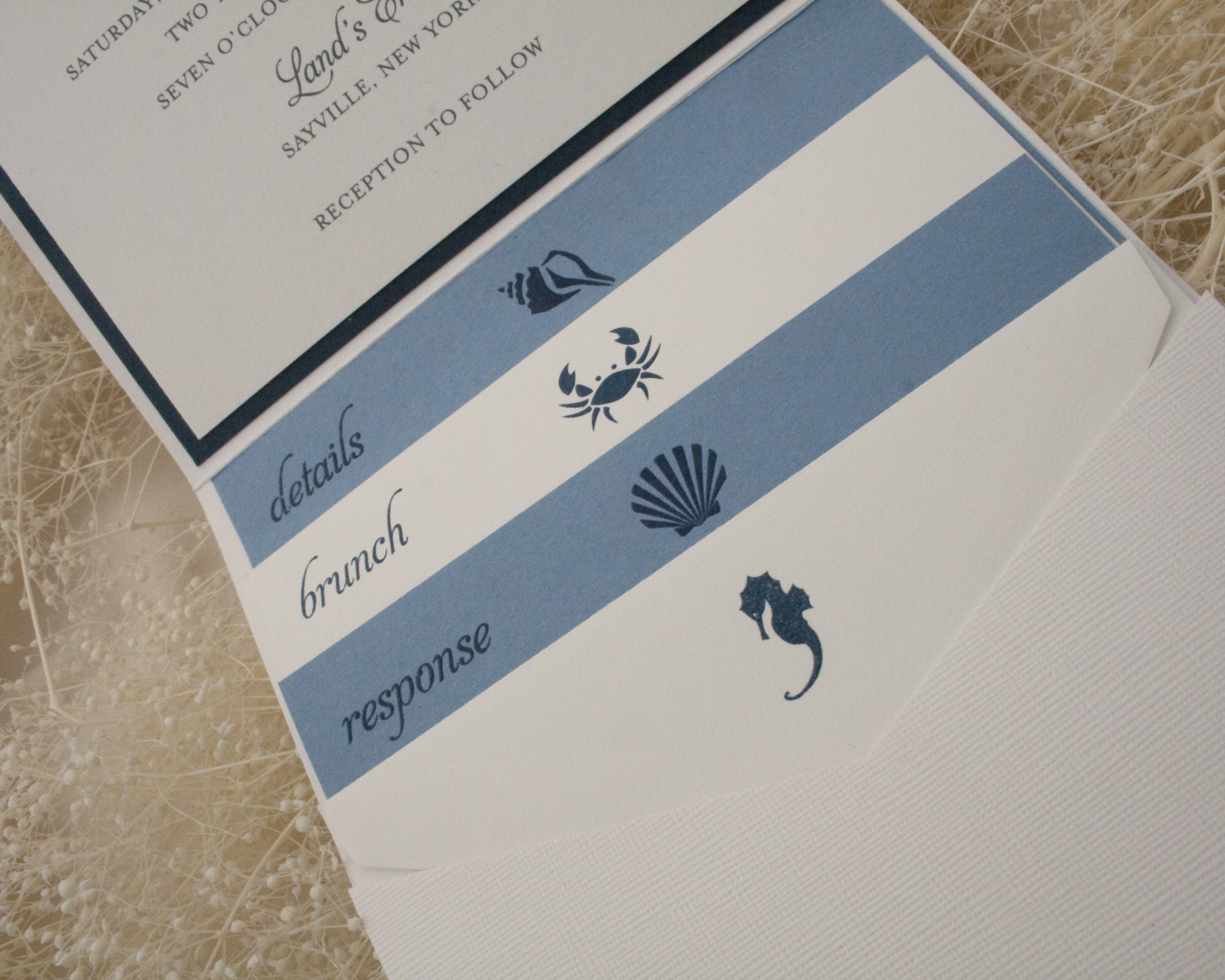 Catie + Ryan, Nautical pocket invitation, blue and navy color palette, monogram and beach motifs