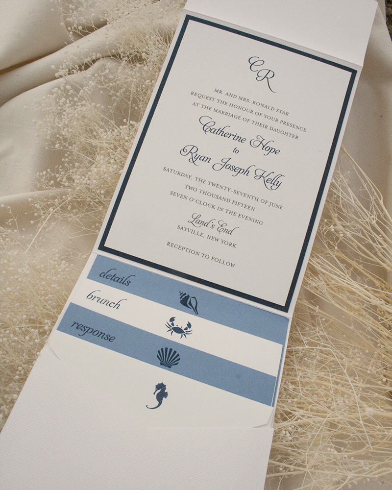 Catie + Ryan, Nautical pocket invitation