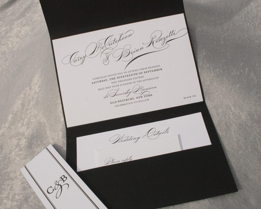 Letterpress, black and white pocket invitation with bellyband, formal style