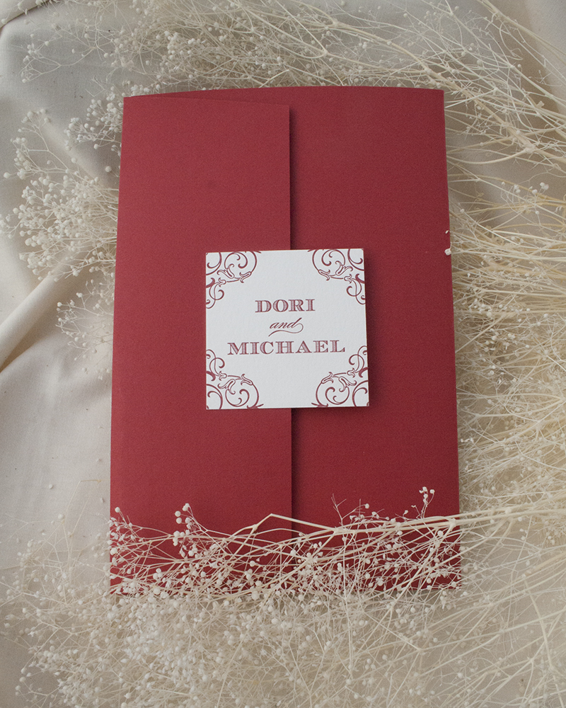 Dori + Michael, Wedding, Pocket Invitation