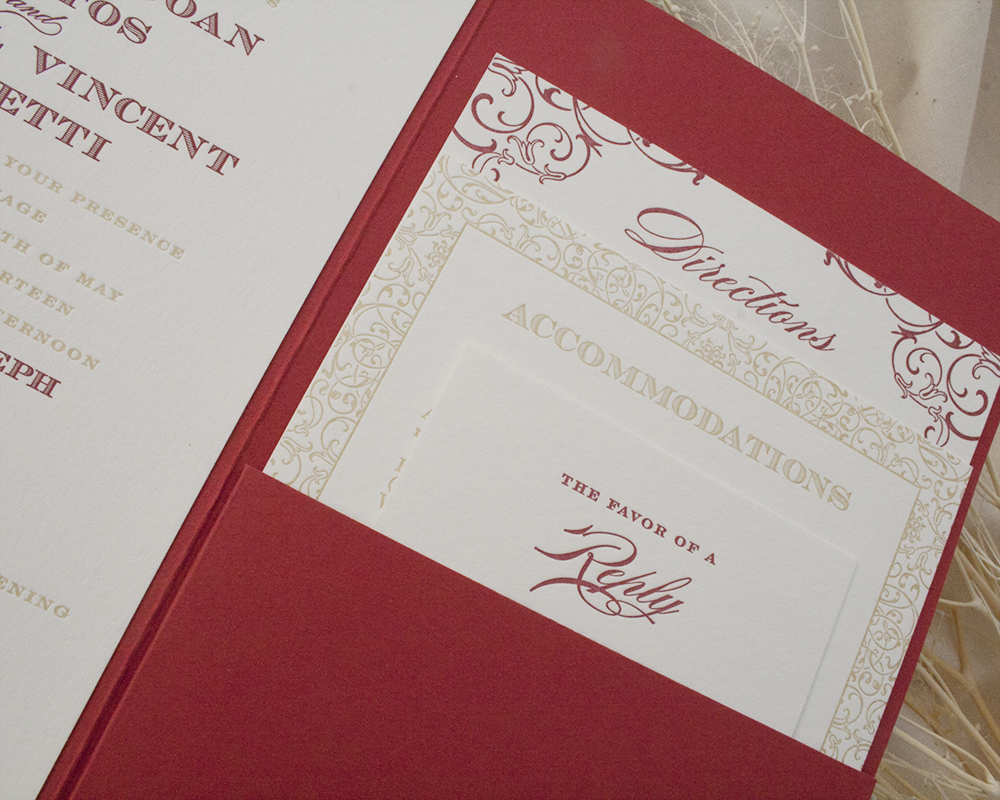 Detail of Dori + Michael's Wedding Invitation, Red and Gold Pocket invitation with decorative pattern, letterpress printing