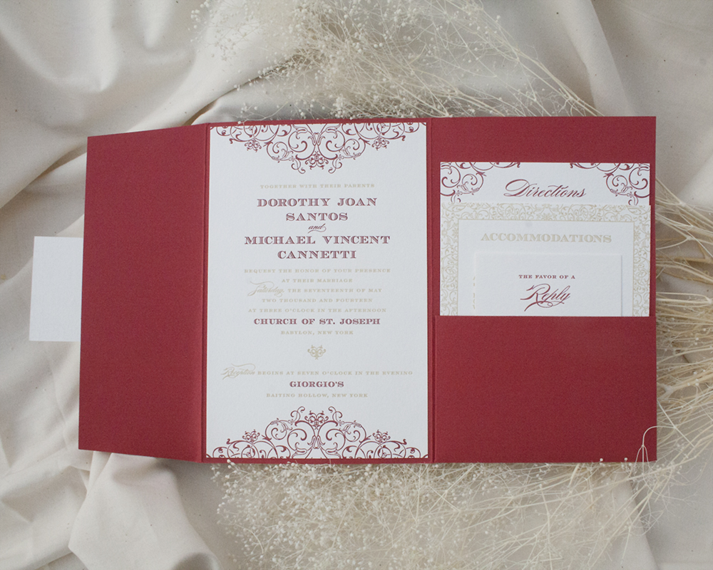 Dori + Michael, Wedding, Pocket Invitation, Red and Gold invitation with decorative pattern, letterpress printing