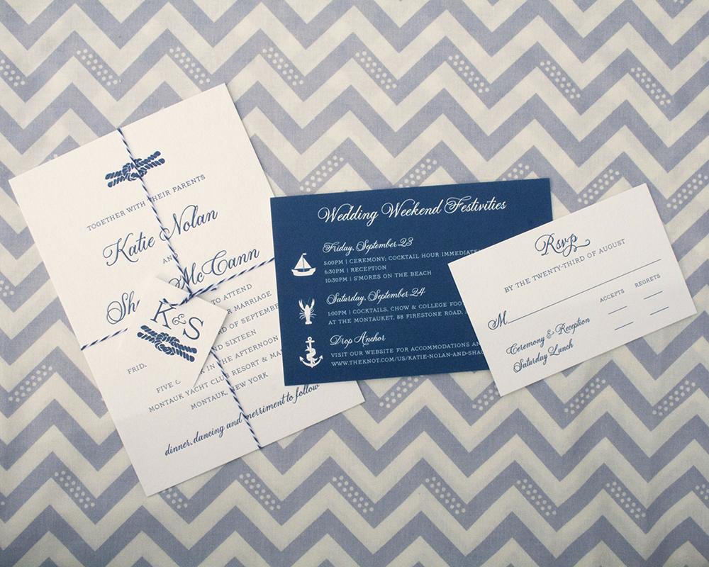 Katie+Shaun, letterpress wedding invitation, nautical style