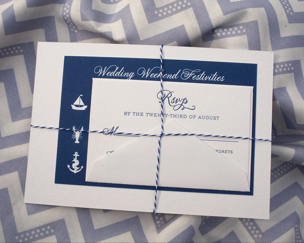Katie+Shaun, letterpress wedding invitation, nautical style, twine and tag