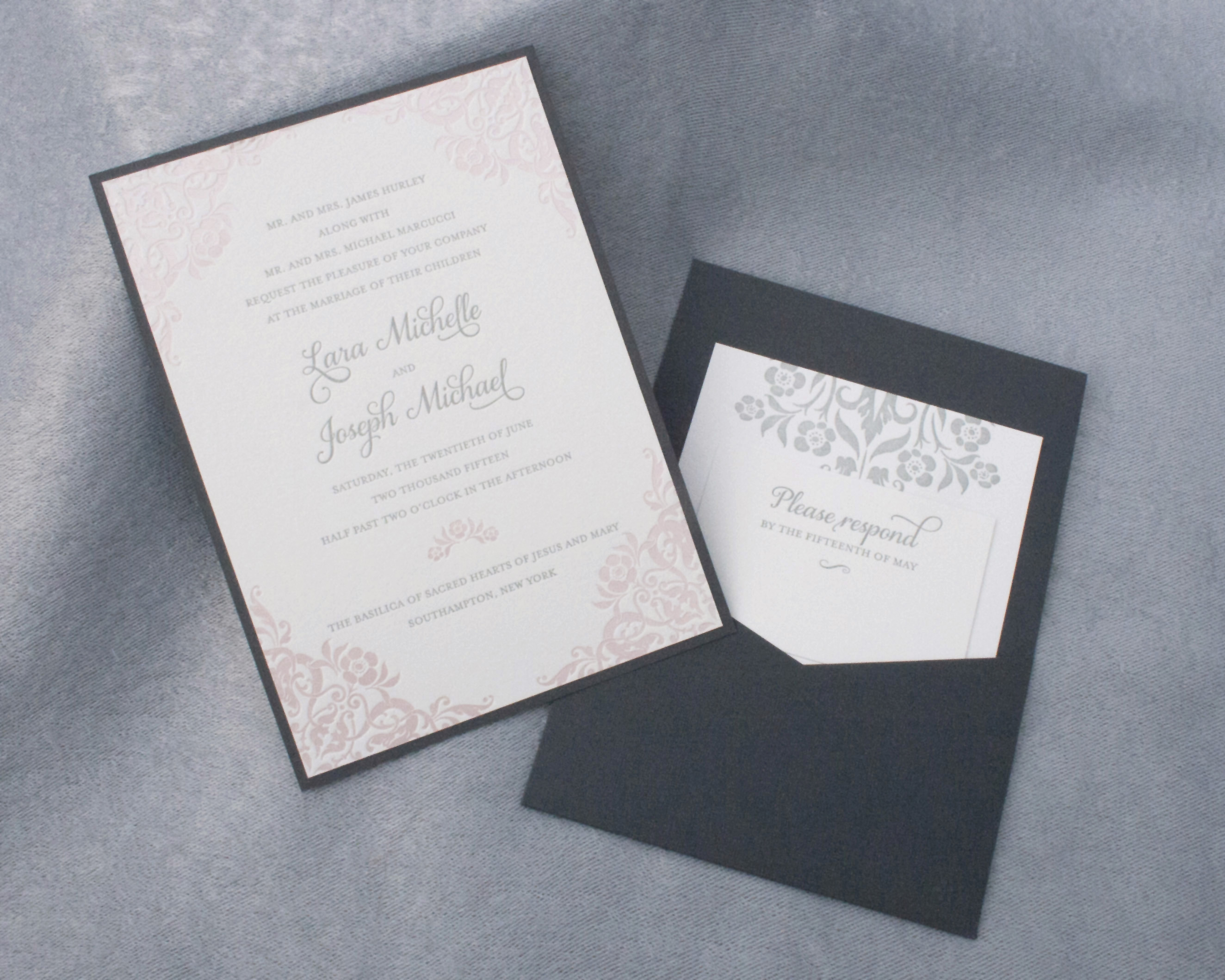 Lara+Joseph, Wedding Invitation, Pocketcard with letterpress and foil printing