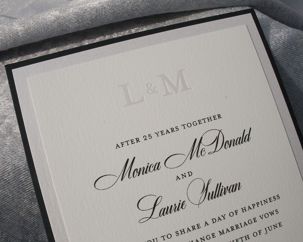 Detail of Laurie + Monica, Pocketcard wedding invitation, foil monogram and thermography printing