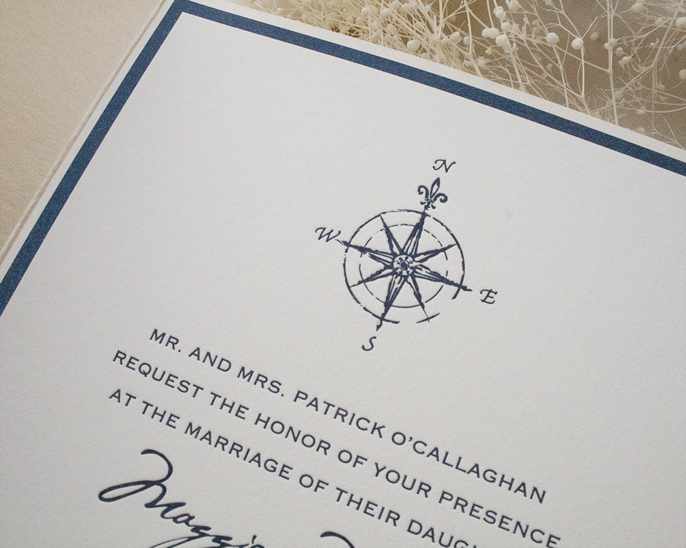 Maggie and Neil, Nautical pocket invitation, letterpress printing, shimmer, metallic paper, compass detail, navy color palette