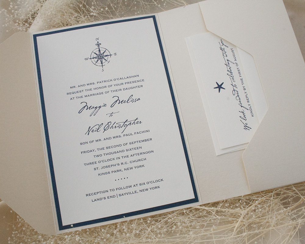 Maggie and Neil, Nautical pocket invitation, letterpress printing, shimmer, metallic paper, compass and starfish details, navy color palette