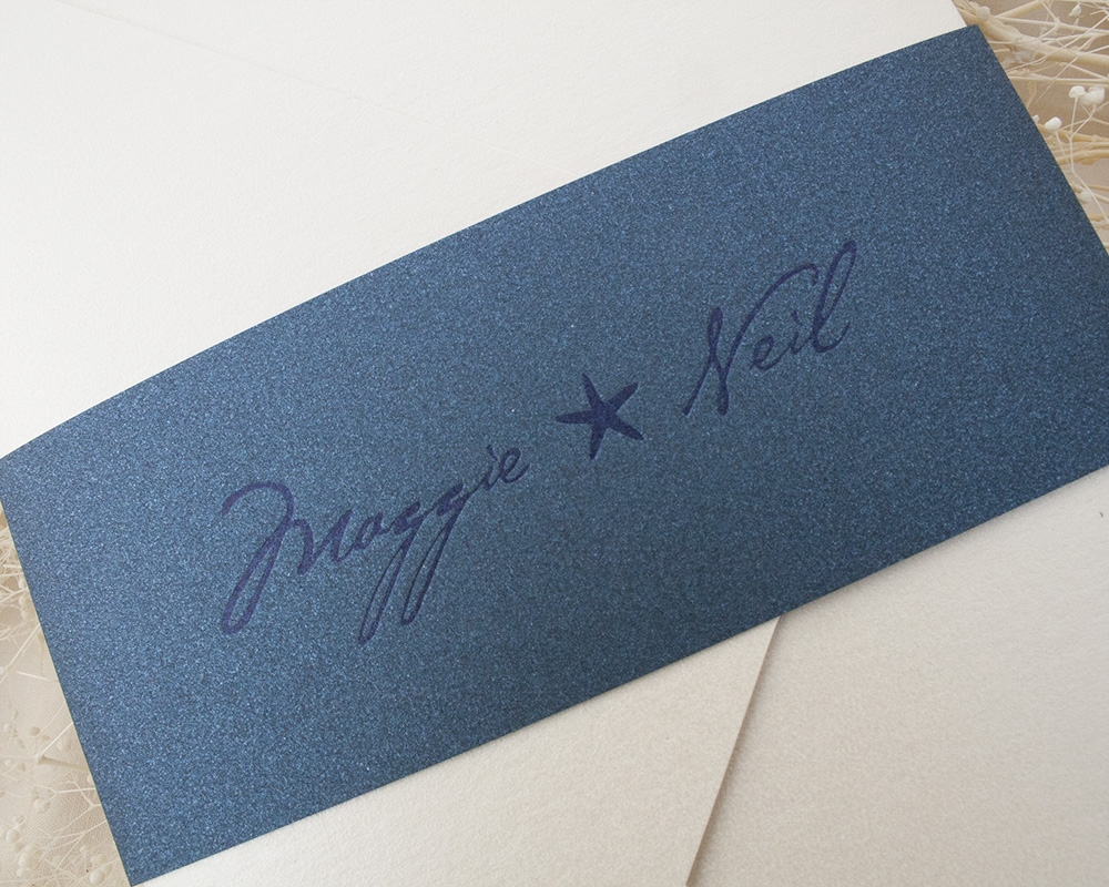 Maggie and Neil, Nautical pocket invitation, Navy bellyband with letterpress printing