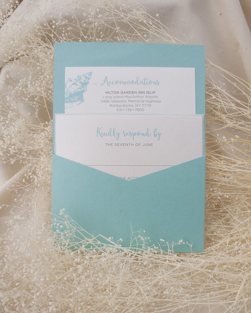 Shell Wave Pocketcard, aqua and white color palette, detail cards in pocket