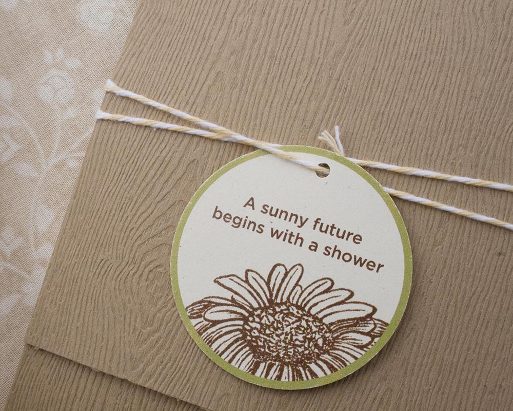 Woodgrain pocket bridal shower invitation with twine and tag