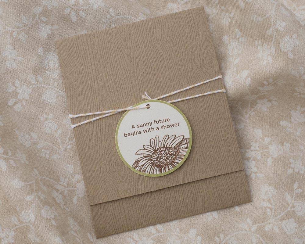 Woodgrain pocket bridal shower invitation with twine and tag, blog post part 2: keeping it all together