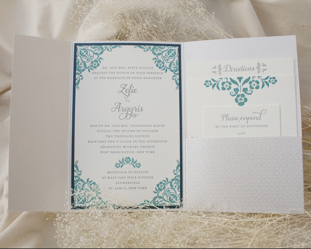 Zefie + Agyris, Wedding Invitation, Pocket Invitation, Letterpress, floral corner detail, teal navy and gray color palette