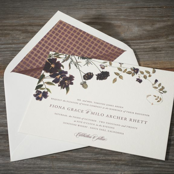 Arden by Bella Figura, Floral wedding invitation, plum and ivory color palette, copper foil details, digitally printed, patterned envelope liner