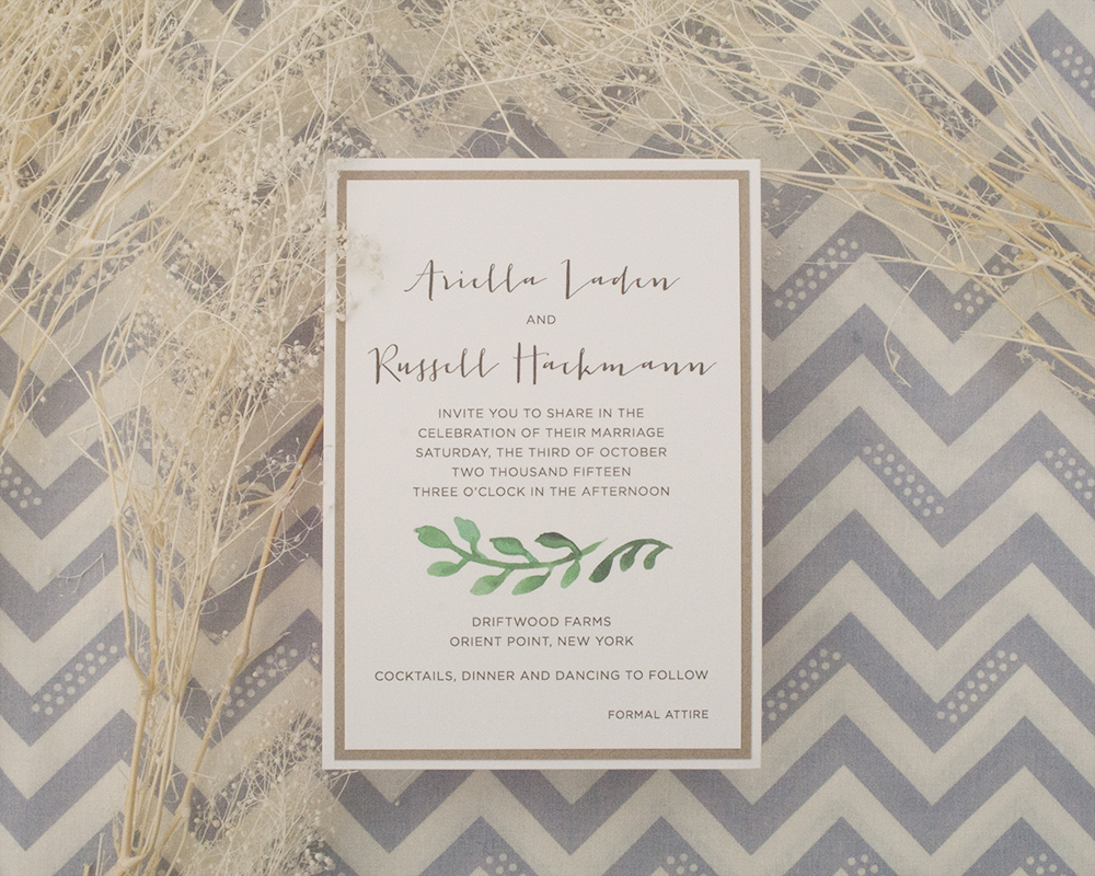 Arielle + Russell, Whimsical Greenery Wedding Invitation, Kraft paper and calligraphy-style font with leafy motif
