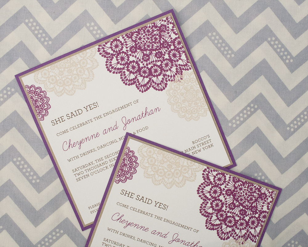 Cheyenne + Jonathan, Engagement Party Invitation, Whimsical design and fonts, purple brown beige and white color palette
