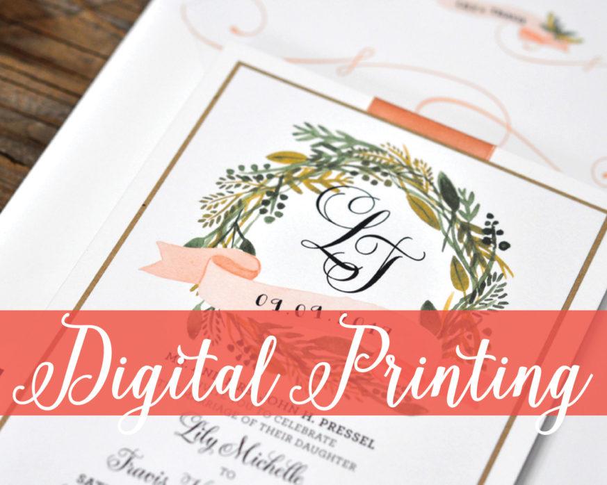 Digital Printing, Rustic Invitation with Wreath and Monogram, Flat Printing, Whimsical wedding