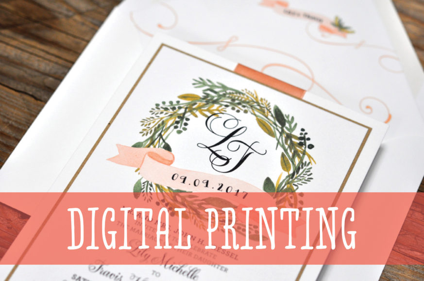 Fat Cat Digital Printing Lesson, Rustic Wedding Invitation with Wreath, Greenery Details, Whimsical Fonts, Layered Paper with Ribbon Detail, Peach and Blush Color Palette